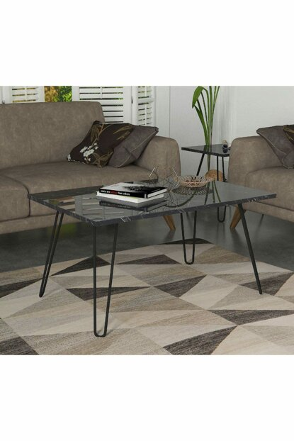 Deren Center Table With Metal Legs Marble 8681506226730