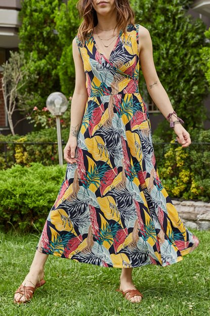 Women Yellow & Green Tropical Pattern Double Breasted Dress 9YXK6-41383-10