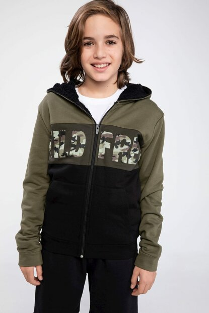 Green Young Boys Hooded Color Blocked Camouflage Patterned Font Printed Cardigan K0465A6.18CW.GN222