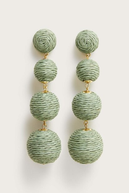 Women's Green Wooden Tipped Earring 53033042
