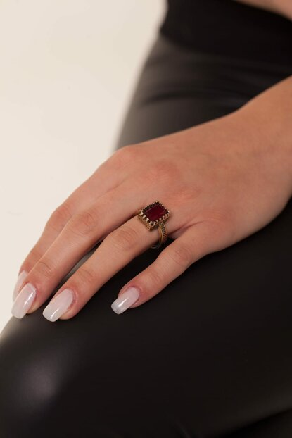 Square Pattern Ruby Sterling Silver Authentic Ring NNVSLVR03588