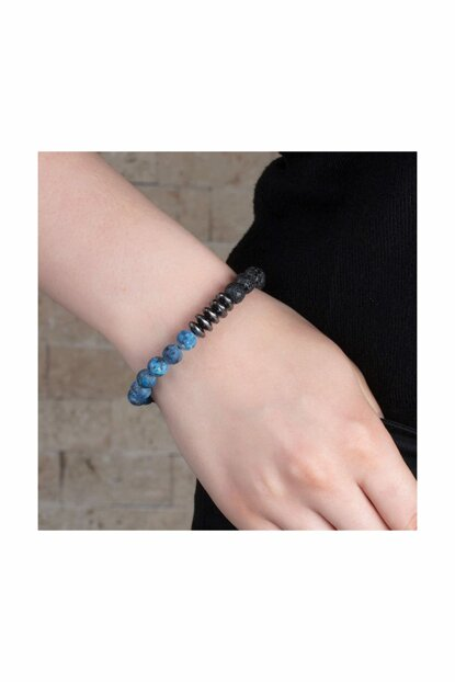 Special Box Gifted Globe Cut Hematite-Lapis-Lava Natural Stone Women Bangle 104000587