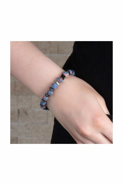 Special Box Gifted Globe Cut Blue Ceyt-Hematite Natural Stone Women Bangle 104000603