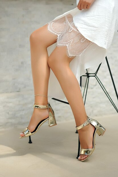 Gold Patent Leather Women Classic Heels Shoes A190-19