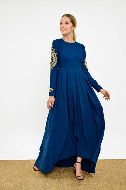 Women's Oil Blue Handle Embroidered Evening Dress 3247