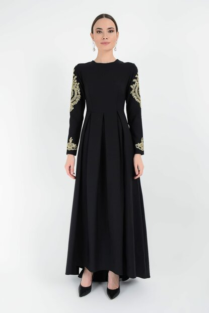 Women's Black Sleeve Embroidered Dress 3247