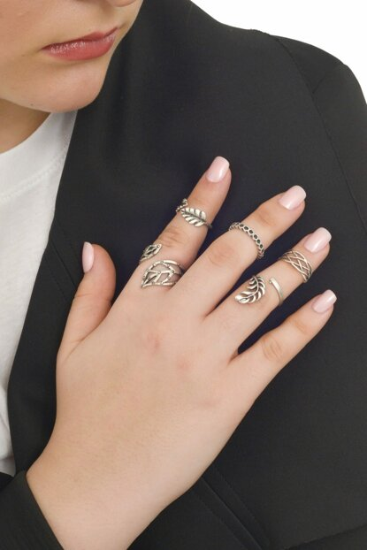 Women's Antique Silver Plated 5'Li Joint Ring Set LBKDNAGKYZK16097