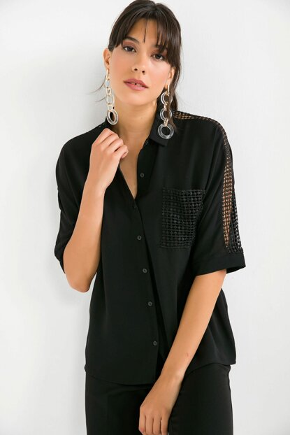Women's Pocket And Sleeve Guipure Detailed Crepe Shirt Black S-19Y3650001