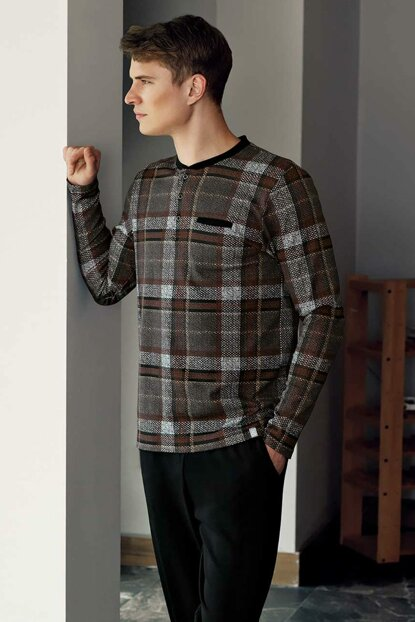 Men's Brown Plaid Pajamas Set MEP23809-1 TMEP23809
