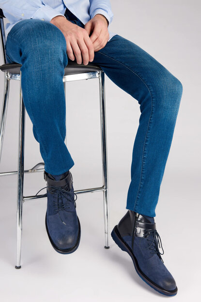 Genuine Leather Navy Blue Men Boots 120130003740