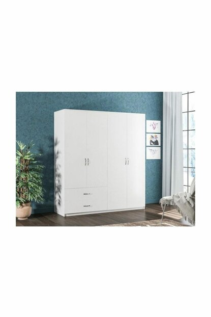 AE-3040 Beta 4 Doors Wardrobe With 2 Drawers Bedroom Wardrobe With Clothes Hanger grdrp6