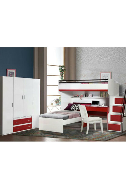 Bueno Bunk Bed Bedside Table Cabinet with 4 doors Red 149