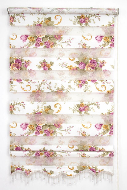 200X200 Tengo Zebra Curtain Dila Purple Flower Patterned Skirted Beaded Roller Blinds 200X200-EV-BV-SAG-001DLA-03