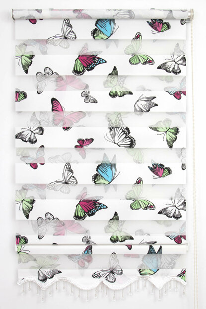 200X200 Tengo Zebra Curtain Butterfly Patterned Children and Teen Room Skirt Beaded Roller Blinds 200X200-EV-BV-SAG-001KLK-02