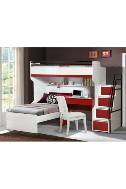 Bueno Bunk bed Bedside table Red 129