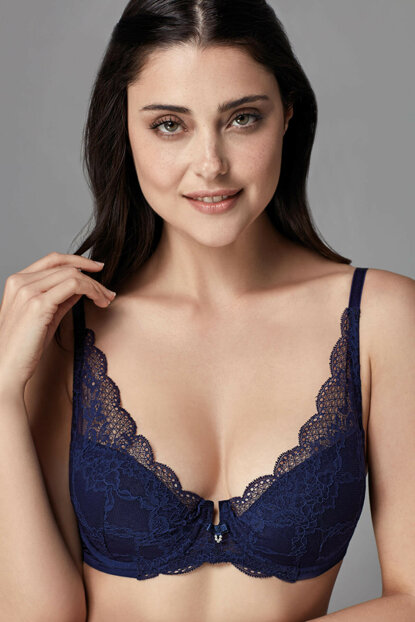 Women Navy Blue Underwire Lined Triangle Single Bra B0169251