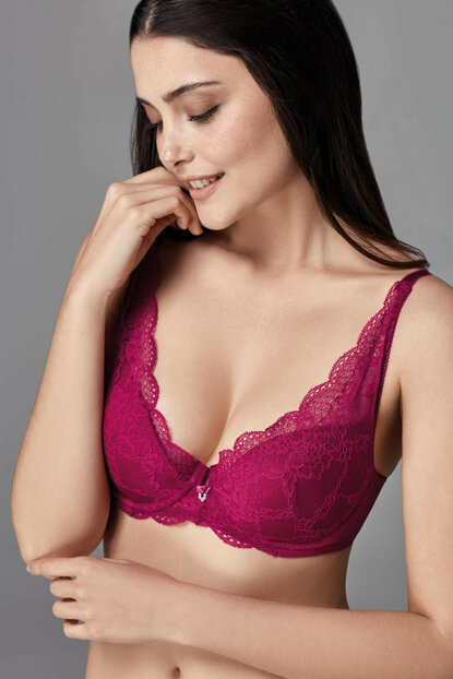 Women's Cherry Covered Underwire Triangle Single Bra B0169251