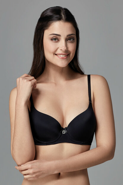 Women's Black Empty Cup Single Bra with Ear B0169030