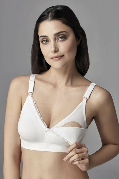 Women's White Cotton Capless Breastfeeding Bra 1051KC / Mamabel B0169255