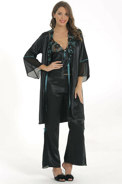 Women's Black 3-Piece Satin Suit MSD-707