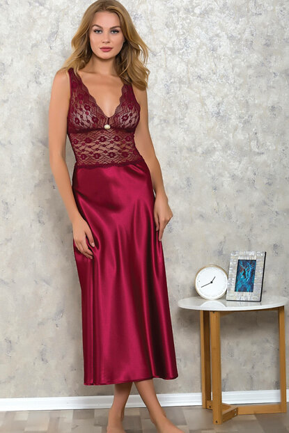 Women's Burgundy Satin Long Nightdress LB9503 MLB9503
