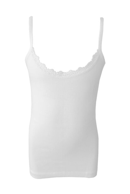 Girl's White 6-Piece Ribana Ruched Rope Singlets 0806-P06 0806-p06