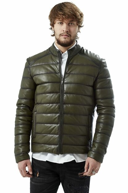 Men's Green Leather Jacket 3042
