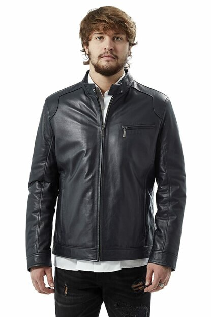 Men's Manli Navy Leather Jacket 3041