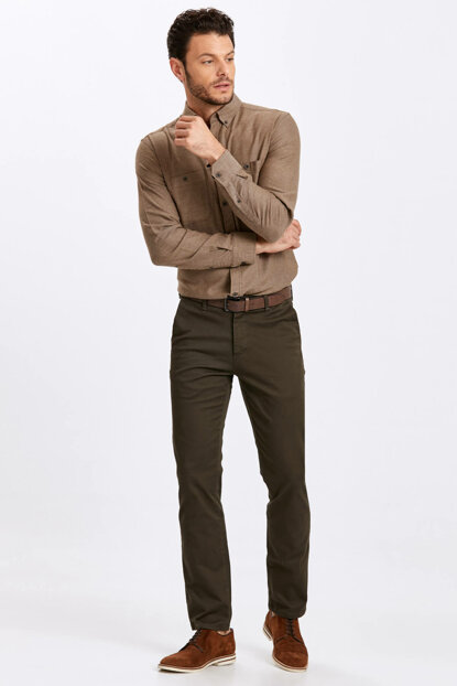 Men's Khaki Trousers 8W1048Z8
