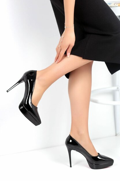 Black Patent Leather Women's Heels Shoes A230-19