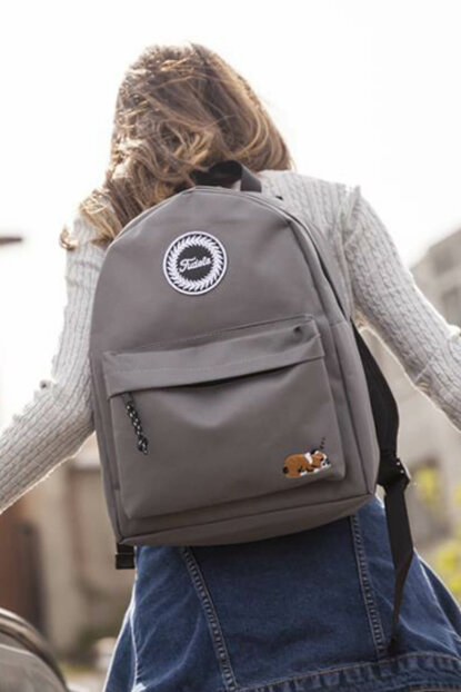 Embroidered Gray Unisex Backpack FA 06
