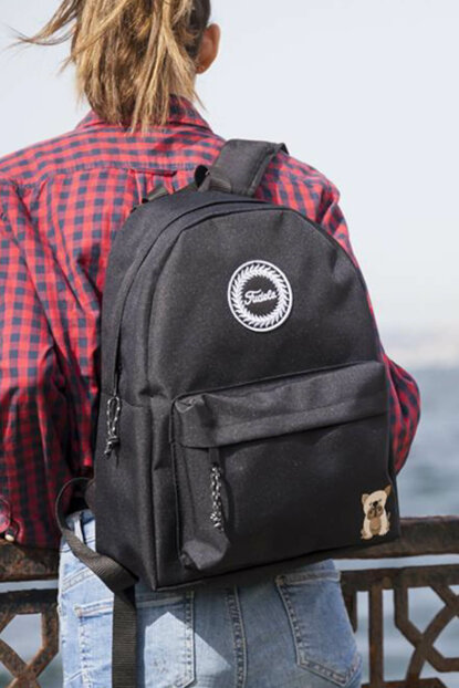 Embroidered Black Unisex Backpack FA 09