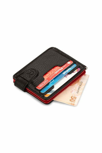 Men's Double Sided Leather Card Wallet Double Color Red-Black 5175CIFT