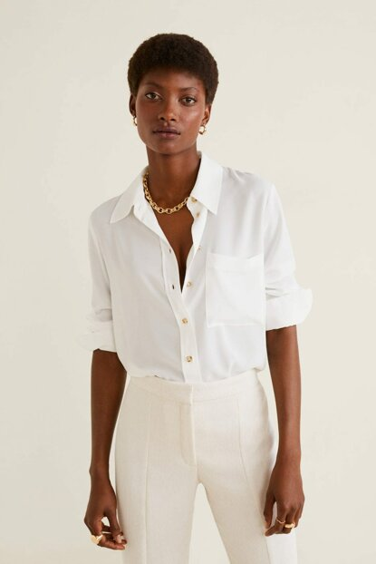 Women's Off White Shirt with Pockets 51013711
