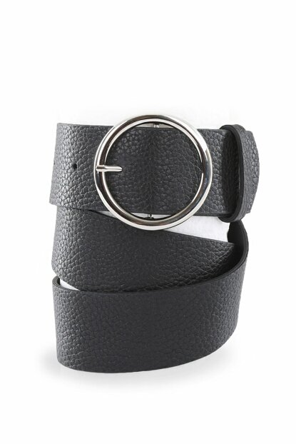 Women's Black Round Buckle Belt 01035BGD19_001