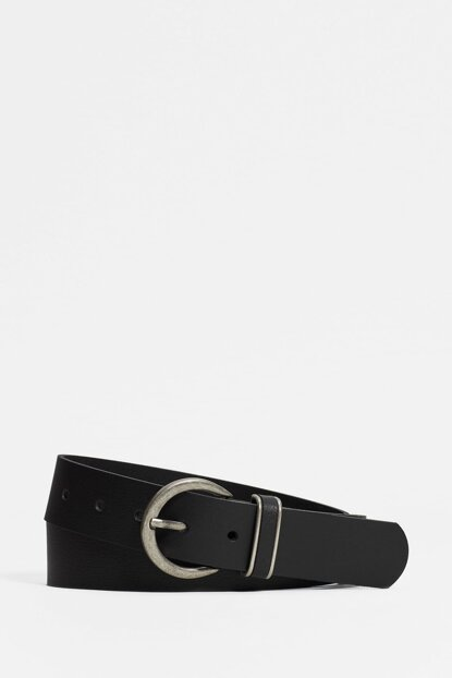 Women Black Leather Belt 194212-27062