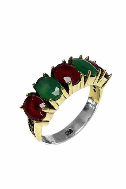 Women's Burgundy Green 5 Stone Authentic Sterling Silver Ring 2020558