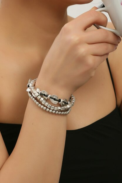 Antique Silver Plated Leather Bracelet STB0040