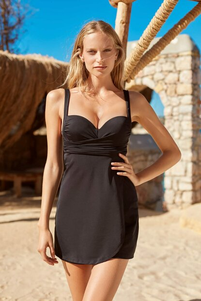 Covered Suspenders Dress Swimsuit 191149