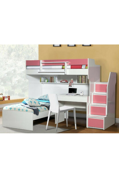 Bold Bunk Bed Bedside table Pink 113