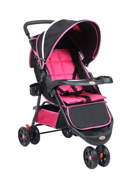 Comfy Three Wheel Baby Stroller Fuchsia Black RV103