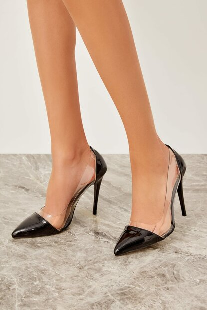 Black Transparent Detailed Patent Leather Women's Heeled Shoes TAKSS19CS0040