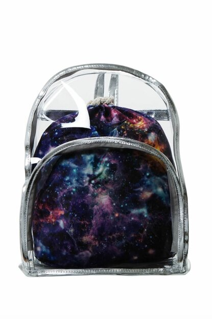 Transparent Backpack Purple Galaxy With Inner Bag BHP1887