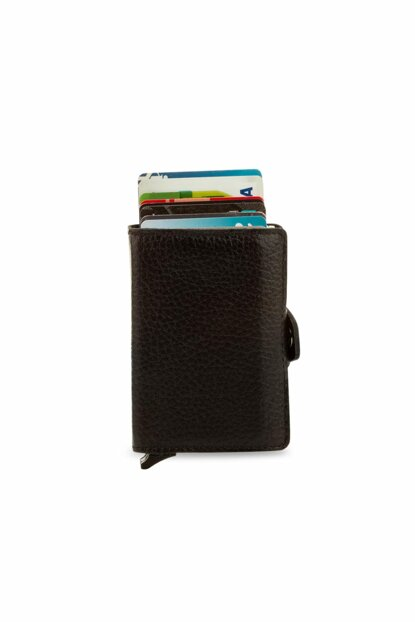 Men's Double Mechanism Smart Wallet Leather Wallet Black 5237CIFT