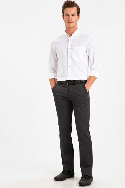 Men's Anthracite Cth Regular Fit Textured Trousers 9SI482Z8
