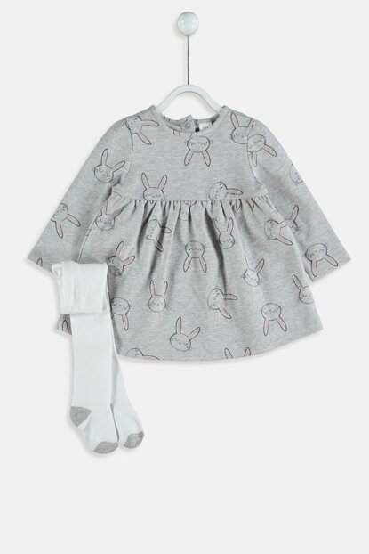 Baby Girl Printed Dress and Pantyhose 9W1878Z1
