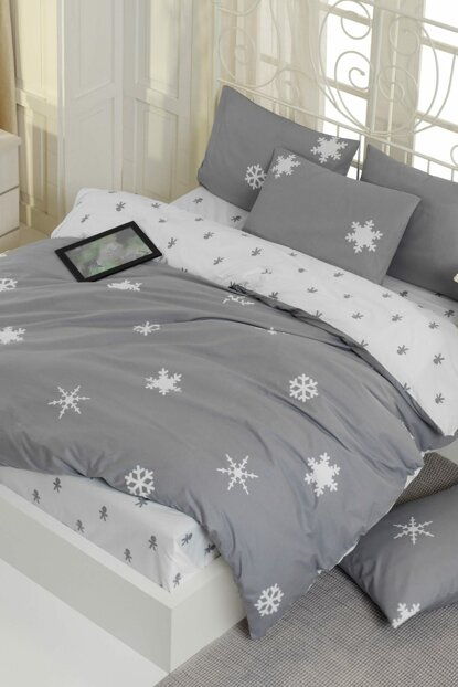 100% Natural Cotton Double Duvet Cover Set Janes Gray Ep-019113