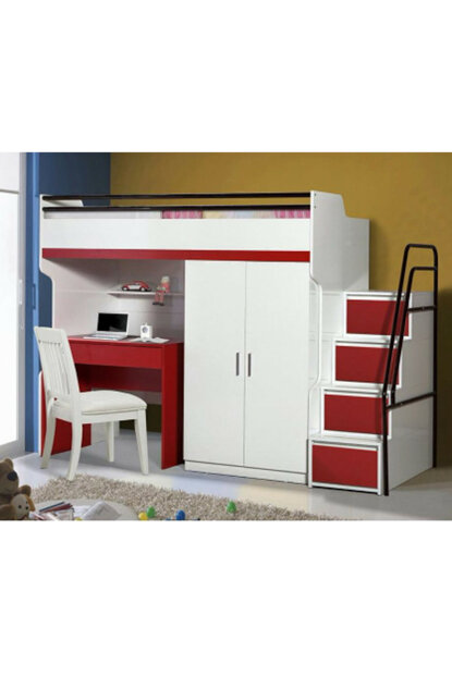 Bueno Bunk Bed Cabinet Red 138