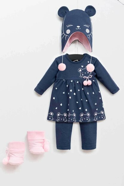 Wogi Baby Girl Dress Pants Hat Booties 4-Piece Suit 3-18 Months 5362 WG5362