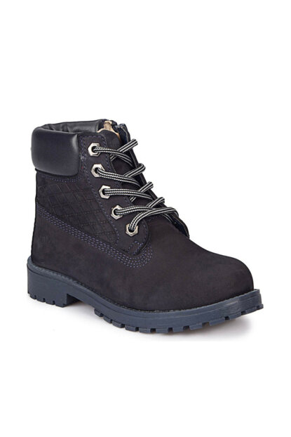 Navy Blue Girls' Leather Boots BEFORE 000000000100284632
